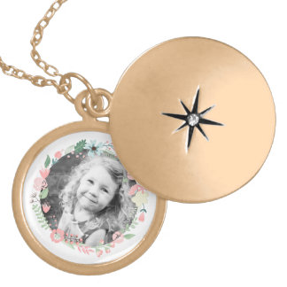 Custom Photo Floral Wreath Locket Necklace