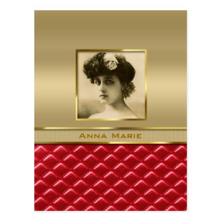 Custom Photo Frame Faux Gold Quilted Red Leather Postcard