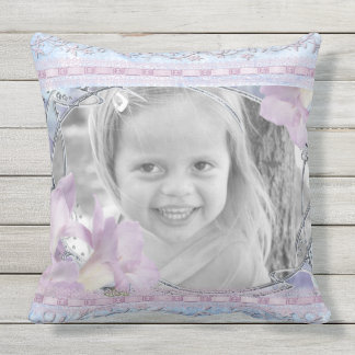 Custom Photo Frame Lilac Lilies Victorian Floral Outdoor Cushion