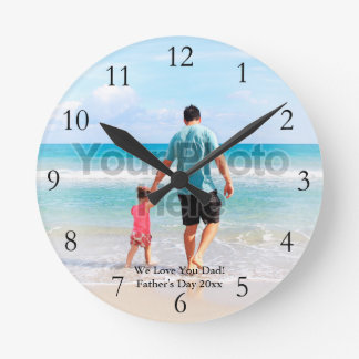 Custom Photo Full Color with Numbers Father's Day Round Clock