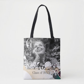 Custom photo graduate graduation abstract flowers tote bag