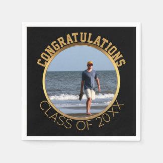 Custom Photo Graduation | Black & Gold Disposable Napkins
