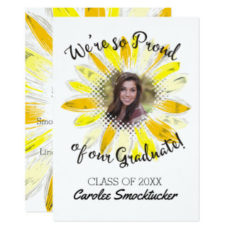 Custom photo graduation graduate sunflower card