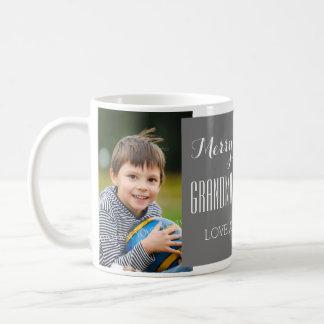 Custom Photo Grandparents Christmas Mug Grey