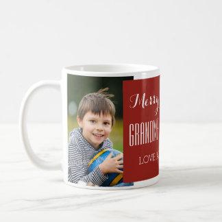 Custom Photo Grandparents Christmas Mug Red