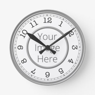 Custom Photo Grey Modern Minimalist Round Clock