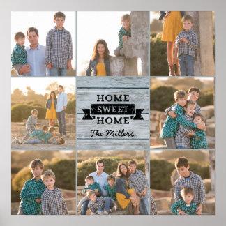 Custom Photo Home Sweet Home Pale Wood Rustic Poster