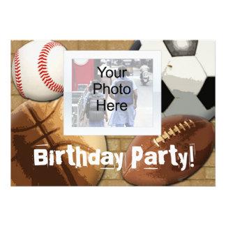 Custom Photo Invitation, Sports Theme Birthday or