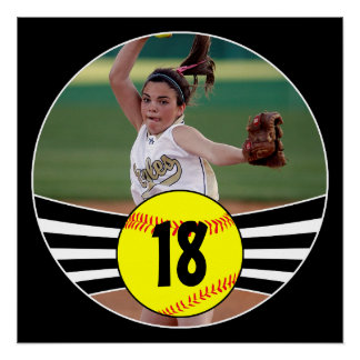 Custom Photo & Jersey Number Fastpitch Softball Poster