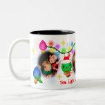 Custom Photo Kawaii Christmas Lights Coffee Mug