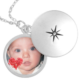 Custom Photo Locket with Red Heart Design