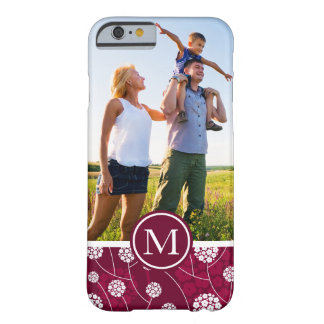 Custom Photo & Monogram Abstract floral pattern Barely There iPhone 6 Case