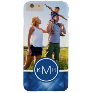 Custom Photo & Monogram blue hi-tech background Barely There iPhone 6 Plus Case