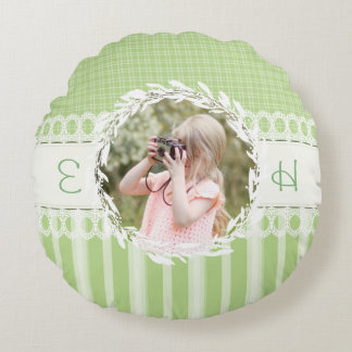 Custom Photo Monogram Green Round Accent Pillow