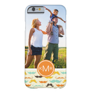 Custom Photo & Monogram Mustache pattern 3 Barely There iPhone 6 Case