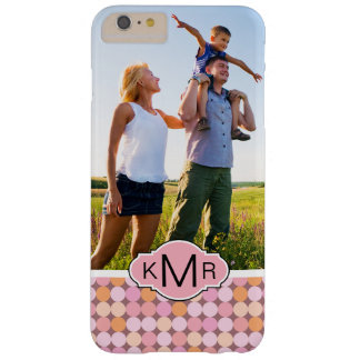 Custom Photo & Monogram Pink & Orange Polka Dots Barely There iPhone 6 Plus Case