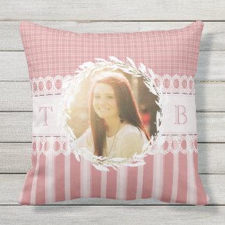 Custom Photo Monogram Pink Sofa Throw Pillow