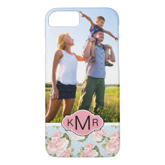 Custom Photo & Monogram roses with blue polka dots iPhone 8/7 Case