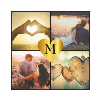 Custom photo montage x4 with heart name monogram canvas print