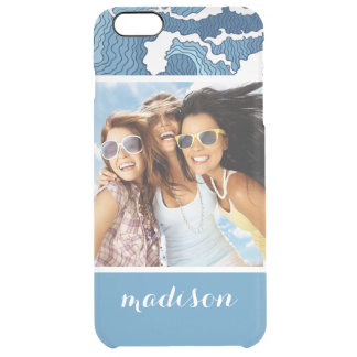 Custom Photo & Name Abstract Waves Clear iPhone 6 Plus Case