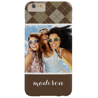 Custom Photo & Name Argyle Pattern Barely There iPhone 6 Plus Case
