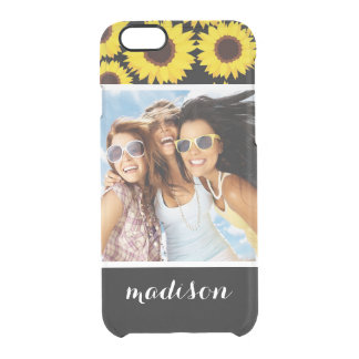 Custom Photo & Name Background with sunflowers Clear iPhone 6/6S Case