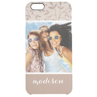 Custom Photo & Name Beige pattern Clear iPhone 6 Plus Case