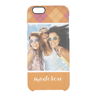 Custom Photo & Name Bias Plaid in Orange and Pink Clear iPhone 6/6S Case
