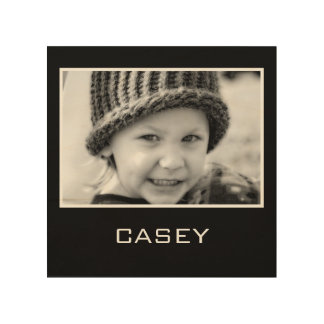 Custom Photo Name Black Background Wood Prints