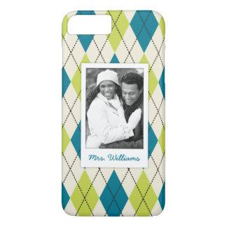 Custom Photo & Name Blue And Green Argyle iPhone 7 Plus Case