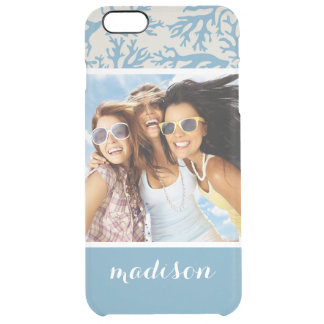 Custom Photo & Name Blue Coral Pattern Clear iPhone 6 Plus Case