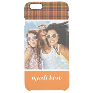 Custom Photo & Name Bright Fall Plaid Clear iPhone 6 Plus Case