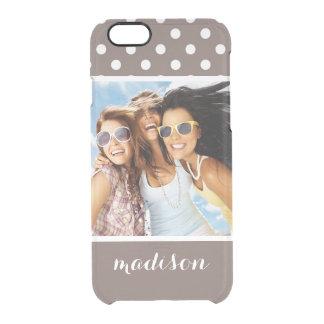 Custom Photo & Name Brown Polka Dots Clear iPhone 6/6S Case