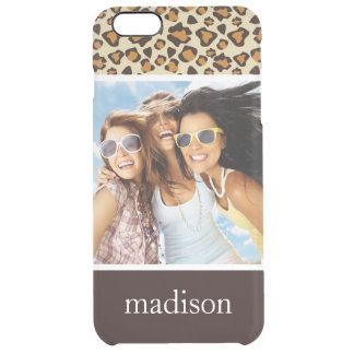 Custom Photo & Name Cheetah skin pattern Clear iPhone 6 Plus Case