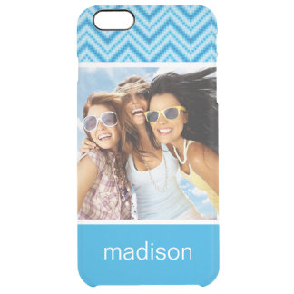 Custom Photo & Name Chevron Pattern Background Clear iPhone 6 Plus Case