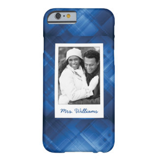 Custom Photo & Name Dark blue hi-tech background Barely There iPhone 6 Case