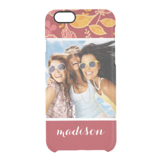 Custom Photo & Name Fall Garden Pattern Clear iPhone 6/6S Case