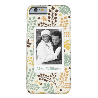 Custom Photo & Name Floral Butterfly Pattern Barely There iPhone 6 Case