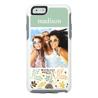 Custom Photo & Name Floral Butterfly Pattern OtterBox iPhone 6/6s Case
