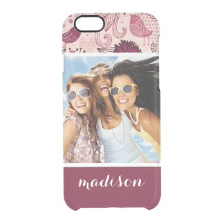 Custom Photo & Name Floral pattern with birds Clear iPhone 6/6S Case