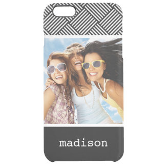 Custom Photo & Name Geometric checked texture Clear iPhone 6 Plus Case