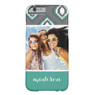Custom Photo & Name Geometric Retro Ikat Pattern Barely There iPhone 6 Case