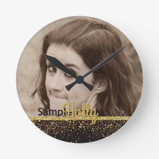 Custom Photo Name | Girly Gold Glitter Black Round Clock