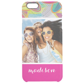 Custom Photo & Name Light Floral Background Clear iPhone 6 Plus Case