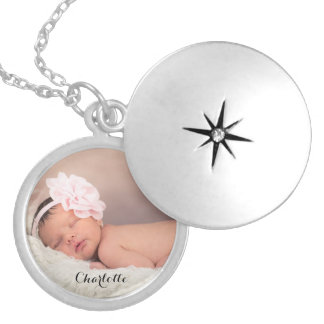 Custom, photo, name, locket, personalised silver plated necklace