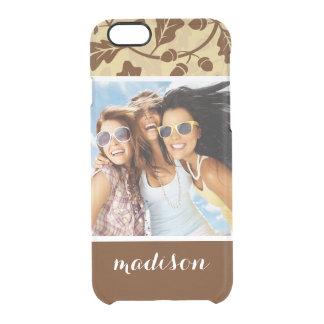 Custom Photo & Name Oak leaf acorn background Clear iPhone 6/6S Case