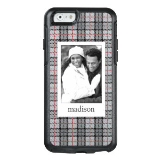 Custom Photo & Name Pixel Plaid in Grey & Red OtterBox iPhone 6/6s Case