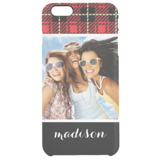 Custom Photo & Name Red Plaid Background Clear iPhone 6 Plus Case