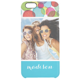 Custom Photo & Name Round bubbles kids pattern 2 Clear iPhone 6 Plus Case