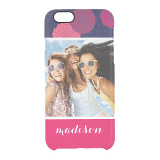 Custom Photo & Name Round flowers pattern Clear iPhone 6/6S Case